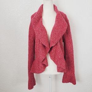 Moda International L Ruffled Pink Knit Cardigan